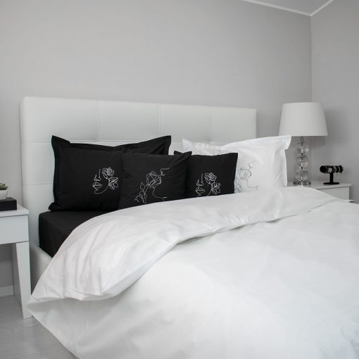 Lenjerie de pat alb-negru principal