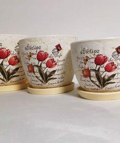 Set 3 ghivece din ceramică secundar