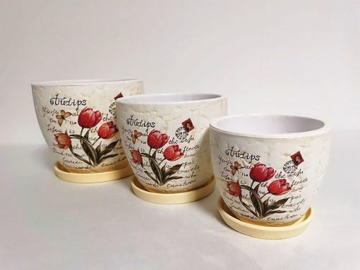 Set 3 ghivece din ceramică terț