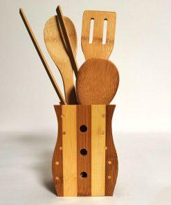 Set 4 ustensile de bucătările din bambus principal