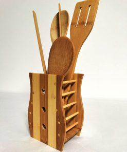 Set 5 ustensile de bucătările din bambus secundar