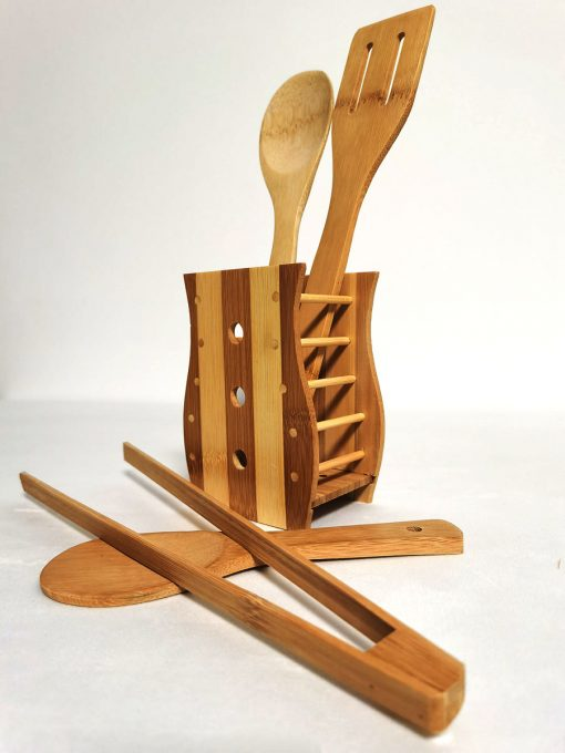Set 5 ustensile de bucătările din bambus terț