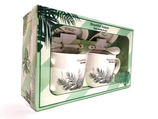 Set două căni și farfurii din ceramică principal