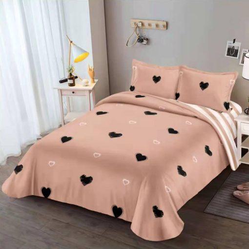 Lenjerie 4 piese din bumbac satinat cu elastic pentru pat dublu (11)