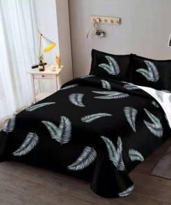 Lenjerie 4 piese din bumbac satinat cu elastic pentru pat dublu (4)