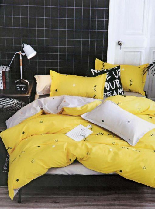 Lenjerie 4 piese din bumbac satinat pentru pat simplu (11)