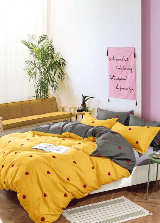 Lenjerie 4 piese din bumbac satinat pentru pat simplu (12)