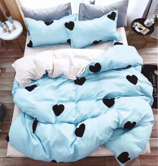 Lenjerie 4 piese din bumbac satinat pentru pat simplu (4)