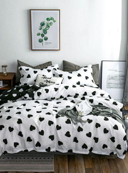 Lenjerie 4 piese din bumbac satinat pentru pat simplu (40)