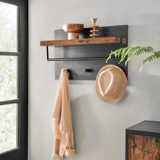 cuier perete cu etajera stil industrial black 1094