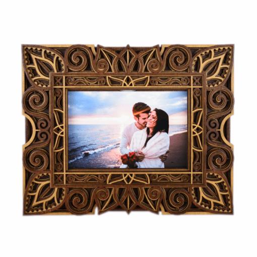 Rama foto mandala din lemn 003 26x21cm 1