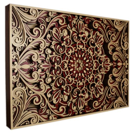Tablou mandala din lemn Armonie 50x35cm 1