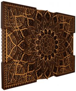 Tablou mandala din lemn Floare infinita 50x37cm 75x56cm 1