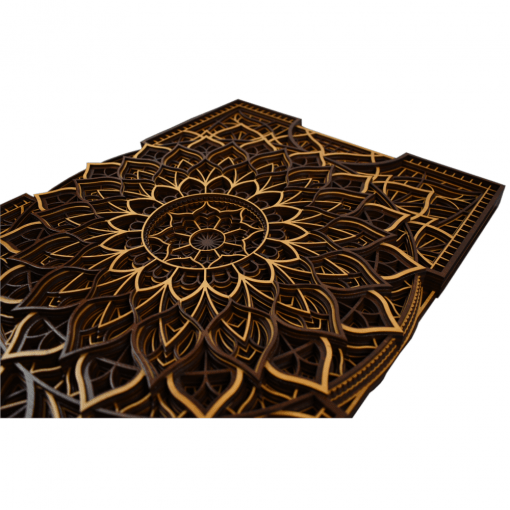 Tablou mandala din lemn Floare infinita 50x37cm 75x56cm 2