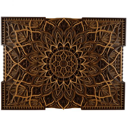 Tablou mandala din lemn Floare infinita 50x37cm